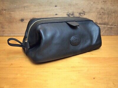 Fossil Black Leather Dopp Kit Men's Toiletry Travel buttery soft leather