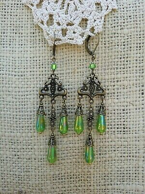Vintage Victorian Style Brass Earrings Green AB Teardrop Bead Chandelier Dangle