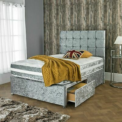 """New Crushed Velvet Divan Bed With Matching Mattress And Free 24"""" Headboard"""