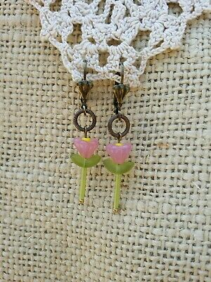 Vintage Style Earrings Child Youth Pink Glass Flower Bead Green Bugle Dangle