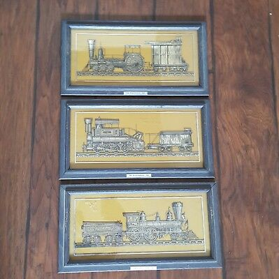 1977 Franklin Mint Sterling Silver Silhouette Set Framed Train Locomotive Engine