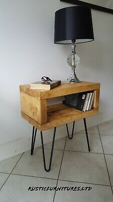 Rustic Hairpin Legs Bedside Table/Side Table//Lamp Table/Solid Pine Wood Table/