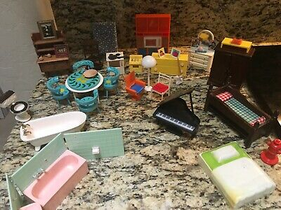 Vintage Lot Of Wooden ,Plastic And Porcelain Doll House Furniture