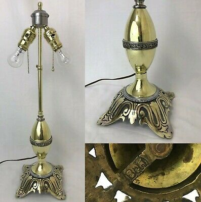 Bradley & Hubbard Vtg Art Deco Table Lamp FOR Tiffany Stained Slag Glass Shade
