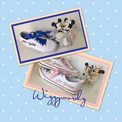 Personalised Women's Flat Pumps Dolly Bridal Wedding Shoes Canvas  UK Size 3-9