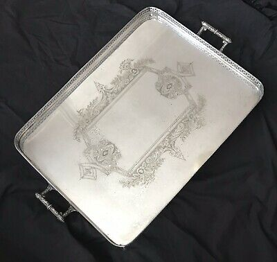 LARGE 19TH C ANTIQUE SILVER PLATED GALLERY TRAY by JOSEPH RODGERS SHEFFIELD