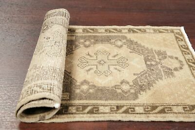 MUTED 2' x 3' Vintage Geometric Turkish Oushak Foyer Rug Distressed Hand-Knotted
