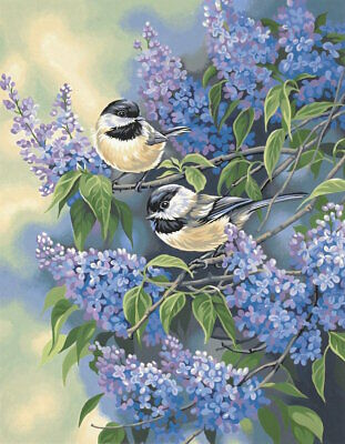 Dimensions 91361 Chickadees and Lilacs Paint Works by Number Kit