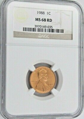 1988 Lincoln Memorial Cent/Penny -  NGC MS 68 RD Red (9-035)