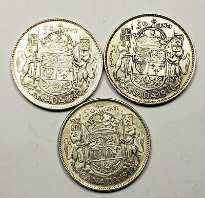 Canada 1940 1941 1942 Silver 50 Fifty Cents 3 Different Coin Lot