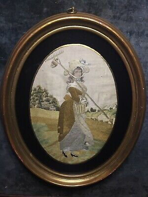 Antique Victorian Silkwork Embroidery - Young Maiden On The Farm - Incredible!