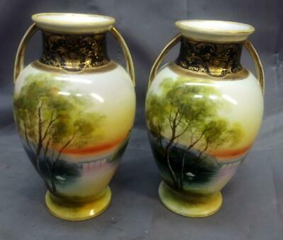Antique Old Pair of Two 2 Porcelain Nippon Hand Painted Vases Japan Swans Lake