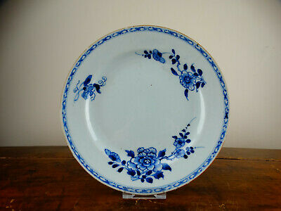 Antique Chinese Export Porcelain Plate Blue and White 18th Century Qianlong