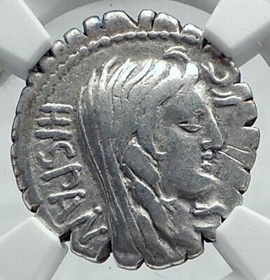 Roman Republic 81BC Rome Defeats TRIBES of Spain Province Silver Coin NGC i78636