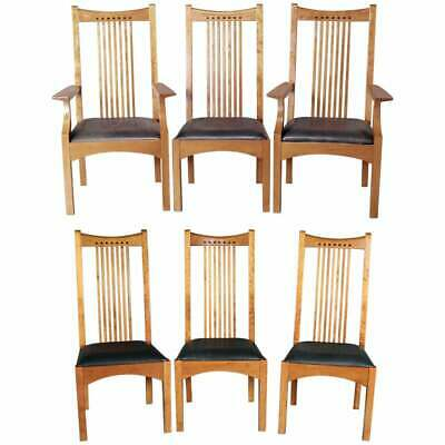 Frank Lloyd Wright School Arts & Crafts Style Cherry Dining Chairs by Stickley