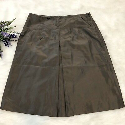 3dfa71f523 J Crew 100% Silk A Line Skirt Charcoal Gray Taffeta Feel Size 0 Classic  Career