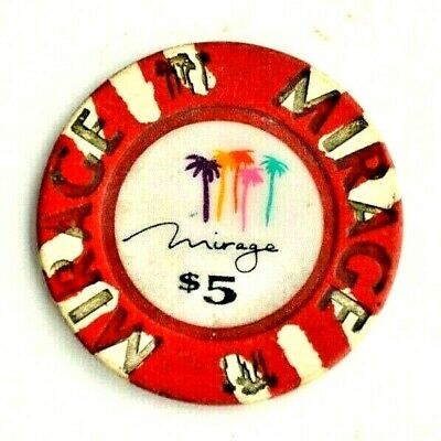 The Mirage Casino $5 Poker Chips Gaming Coin Palm Trees Red Vintage Las Vegas NV