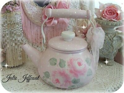 Victorian ~ Shabby ~ Sweet ~ Pink ~ Hand Painted Roses ~ Polka Dot ~ Tea Kettle