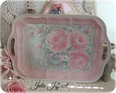 Victorian ~ Shabby ~ Sweet ~ Pink ~ Hand Painted Roses ~ Heavy ~ Large ~ Tray