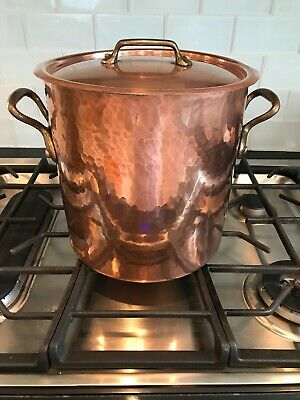 Antique/Vintage Lg French Solid Hammered Copper Stock Pot W/Lid* 8Lbs