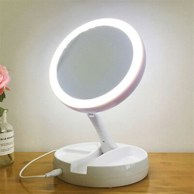 Magnifying Makeup Mirror Beauty Stand Double Side With LED Light Cosmetic Mir TS