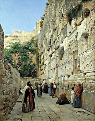 The Wailing Wall by Gustav Bauernfeind. Religion Repro choose Canvas or Paper