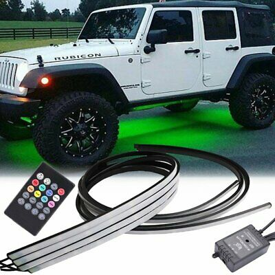 4x RGB 8 Color LED Car Remote Control Underglow Underbody System Lights Kit