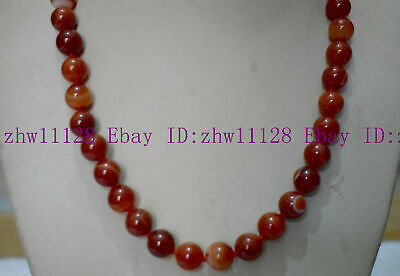 Natural New 8mm Red Striped Agate Gemstone Round Bead Necklace 18'' AAA