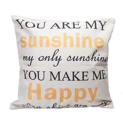 Back Sofa Cushion Cover Pillowcase Quote You Are My Sunshine Cushion Cover SH