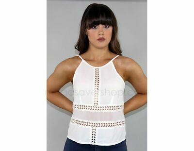 Designer Top Cut-out Sheer Style White