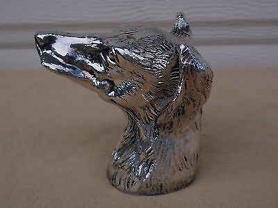Vintage Rare Brass Silver Figure Mauro Manetti Italy 1970's Dog Head Wolfhound