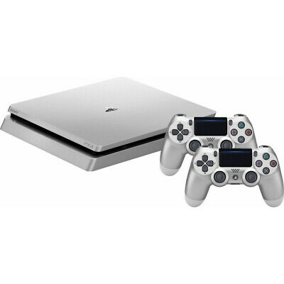 SONY PlayStation 4 Slim 500 GB Konsole + 2 Wireless Controller PS4 silber B-WARE