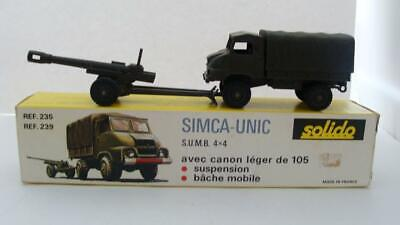 Militaire Solido 235 Simca-Unic Champs Camion 105 mm Canon MIB France 239
