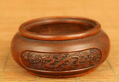 Chinese old boxwood hand carving dragon phoenix statue figue bowl cup pot gift