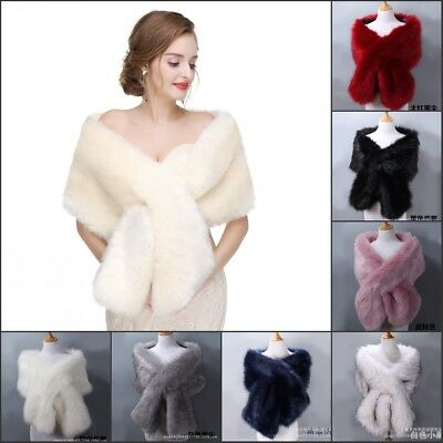 High-quality Bridal Wedding Evening Cape Faux Fur Shawl Stole Wrap Scarf Formal