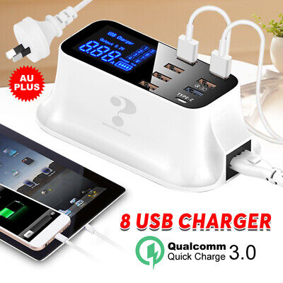 8 Port Quick Charge 3.0 Smart USB Charging Station Type C Charger LED Display AU