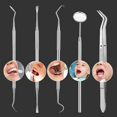 Dental Tooth Cleaning Kit 5Pcs Dentist Scraper Pick Tool Calculus Plaque Remover