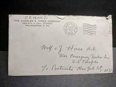 Liberty Ship SS TAMPICO 1945 Naval Cover w/ WWII letter