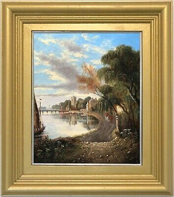 A River Landscape Antique Oil Painting Early 19th Century British School c.1820