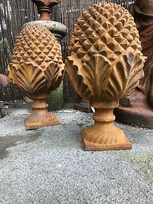 Pair of XL Cast Iron Pineapple finials Large Cast finials Gate pier Pinecone