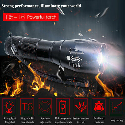 Zoomable Ultrafire Tactical Military T6 LED Flashlight Torch Work Light Lamp