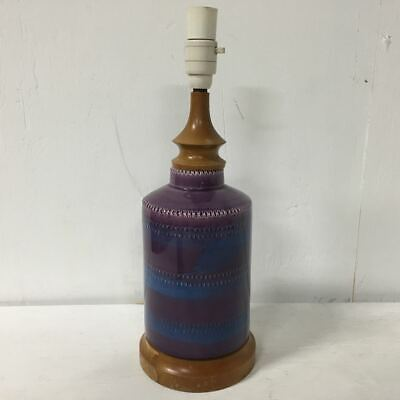 Beautiful Vintage Purple Ceramic / Timber Lamp - Mid Century - Bitossi Style