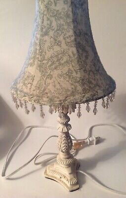 """Table Lamp With White & Gray Beaded Lampshade 16"""" Tall Shabby French Vintage"""
