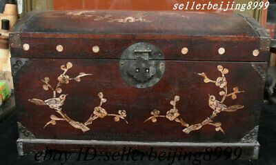 China Huali Wood Inlay Shell Dynasty Palace Flower Bird Jewellery Treasure Box