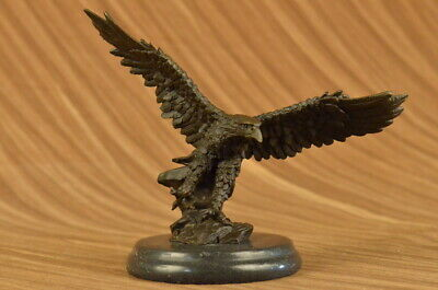 Handmade Bronze Falcon Tall on Marble Base Modernist Modern Sculpture Statue ART