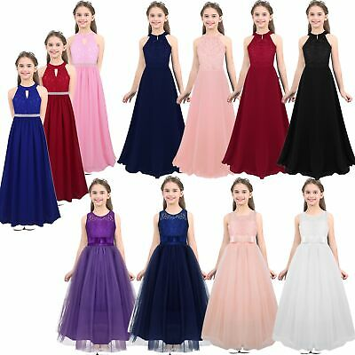 Flower Girl Dress Kids Princess Formal Wedding Bridesmaid Gown Long Maxi Dresses