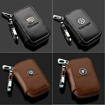 All Car Logo Leather Car Key Chain Case Remote Control Auto Keyfob wallet bag