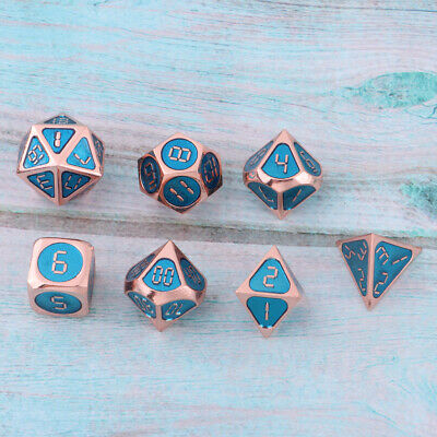 Metal Multi-Sided Dice D4 D6 D8 D10 D12 D20 for DND MTG RPG Roleplaying -C