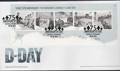 2019 - D-Day Mini Sheet FDC - Southsea, Portsmouth - Post Free