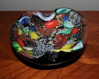 Bowl Heavy Glass Rare Multi-Color Vintage Murano Style Hand Blown Amoeba Shape